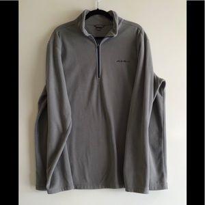 Eddie Bauer Men's Gray Fleece Pullover T XL